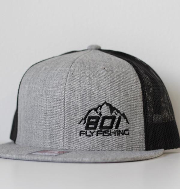 801 fly fishing flat brim snapback heather grey black for Fishing snapback hats