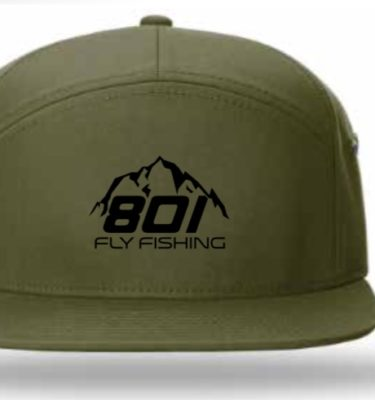 801 Fly Fishing 7 Panel Leather Strapback (Loden / Black)
