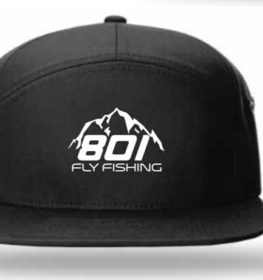801 Fly Fishing 7 Panel Leather Strapback (Black / White)